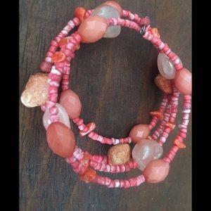 Coral wrap bangle bracelet